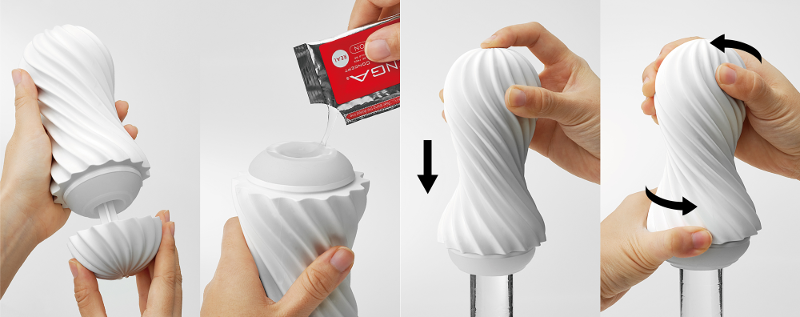 The TENGA Flex uses the internal vacuum to suck you while sliding and twisting