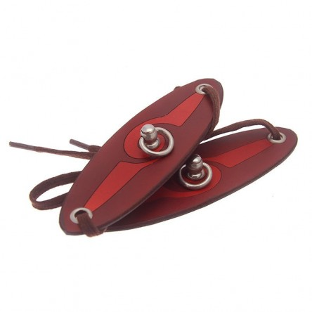 House of Eros Swirl Pattern Red Wrist Cuffs With Swivel Ring