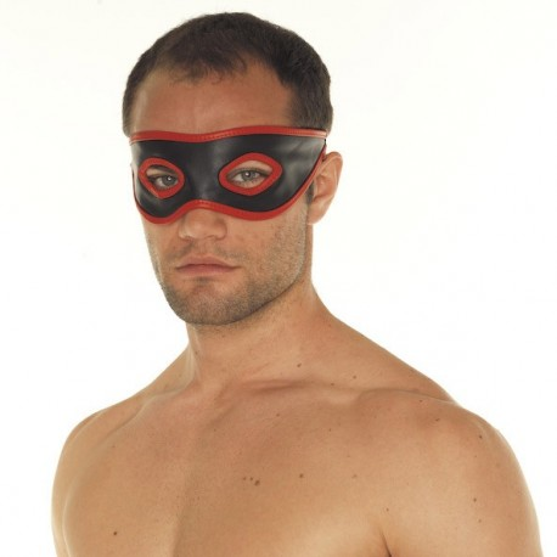 Rimba rouge et noir masque de bondage en cuir