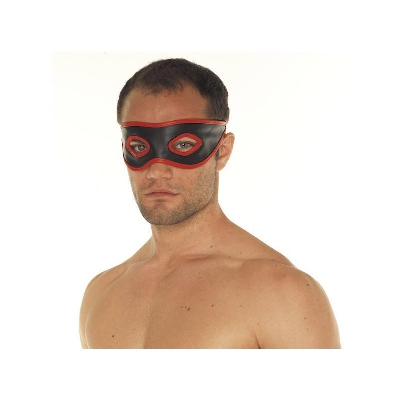 Rimba Red and Black Leather bondage Mask