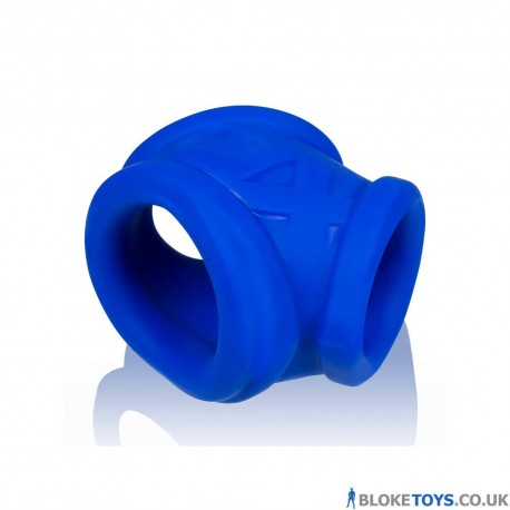 The blue Oxsling cock ring has three openings for different wearing positions