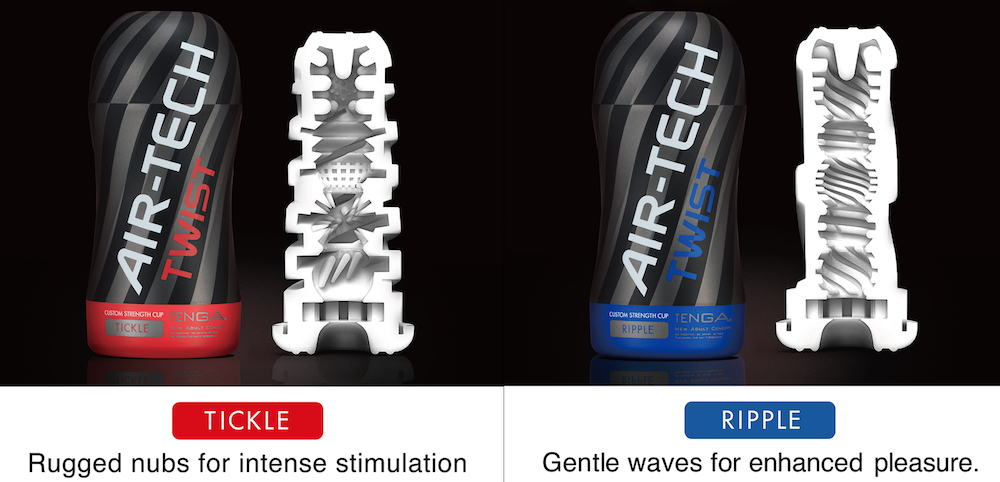 The TENGA Air-Tech Twist is available in Tickle and Ripple textures